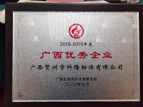 """科隆公司荣获""""2018—2019年度广西优秀企业""""称号"""