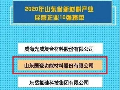 """山东国瓷功能材料股份有限公司入选""""2020年山东省新材料产业民营企业10强"""""""
