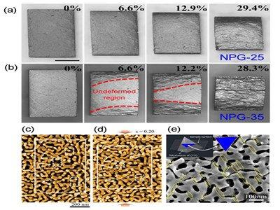 纳米多孔金属中观察到反常的均匀-非均匀变形转变
