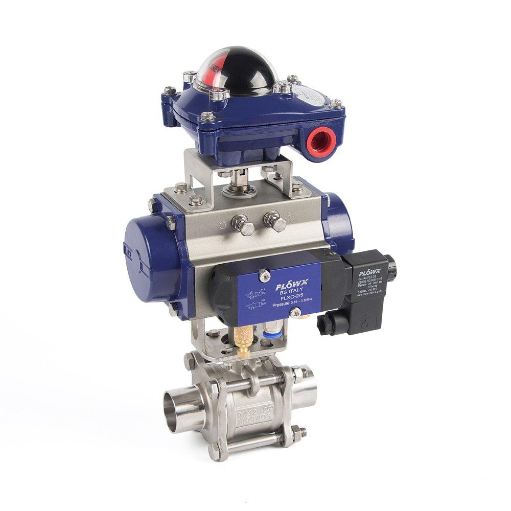 气动对焊接球阀  三片式对焊接球阀 三片式球阀的图片
