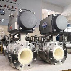 气力输送正压稀相专用耐磨气动陶瓷球阀的图片